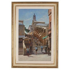 20th Century Oil on Panel 'Steps of the Rialto' by Michael Felmingham