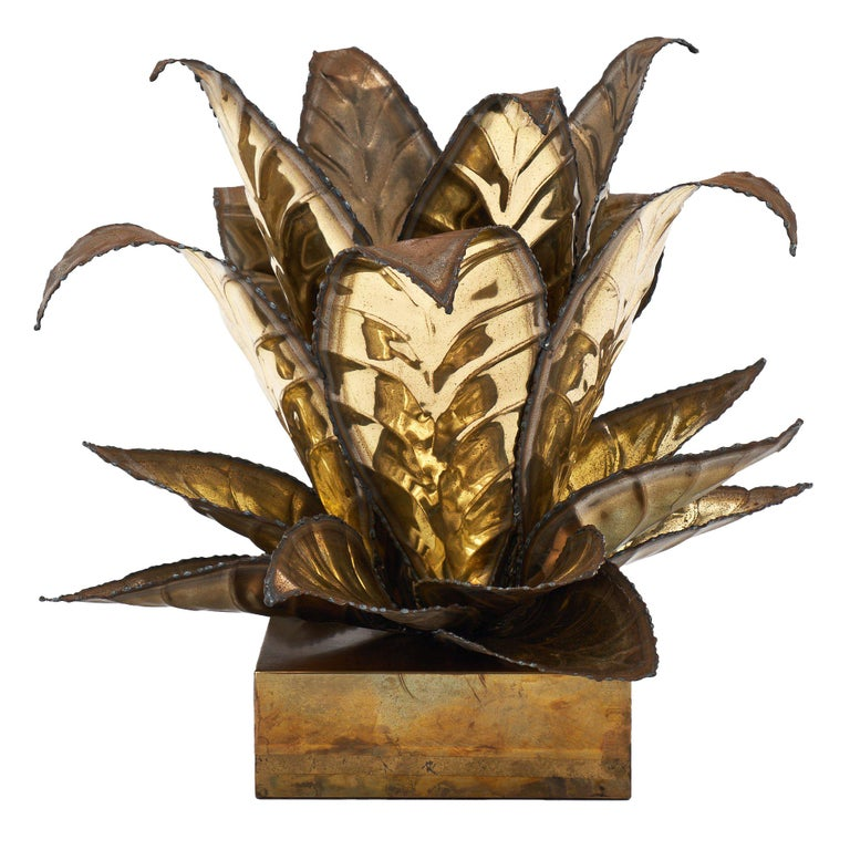 Brass Vintage French Agave Lamp For Sale