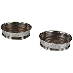 Pair of 1800 English Sterling Silver Wine Coasters by William Sumner I of London