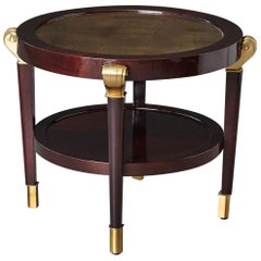 Art Deco Style Lacquered Side Table with Gilt Inlay and Scrolled Brass Elements