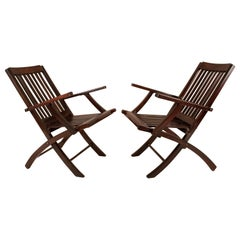 Pair of Folding Rosewood Steamer Deck Chairs