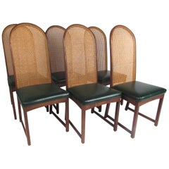 Six Cane Back Walnut Dining Chairs