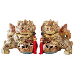 Pair of Satsuma Style Gilt Porcelain Foo Lions