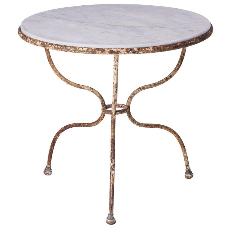 Round Marble Top Café Table with Wrought Iron Base, France, circa 1890 For Sale