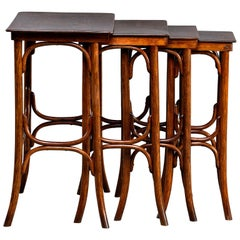 Thonet Quartetto - Set of Four Walnut Bentwood Stacking Tables