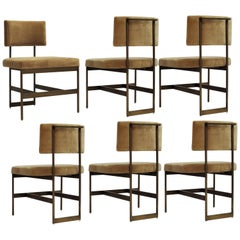 Set of 6, Mid-Century Modern Dining Chairs in Camel Velvet and Antique Bronze