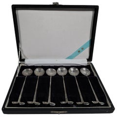 Set of 6 Japanese Modern Silver Appetizer Spoons with Golf Motif