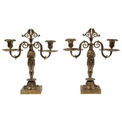 Pair of Candelabra, French Manufacture, Second Half of the 20th Century