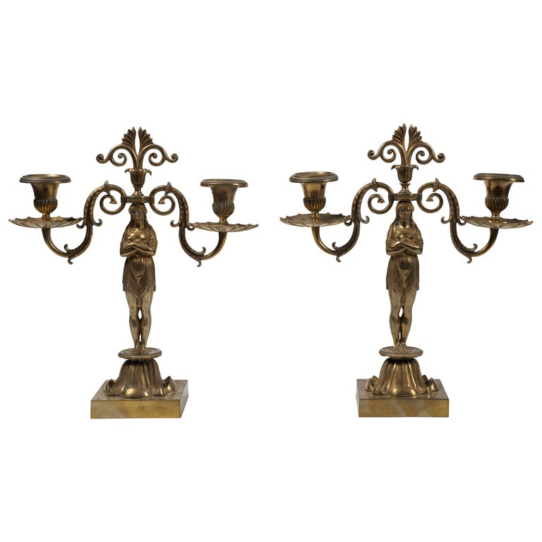 Pair of Candelabra, French Manufacture, Second Half of the 20th Century For Sale