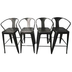 Fabulous Foursome of Vintage Industrial Metal Bar Stools and Chairs