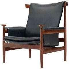 "Early Finn Juhl ""Bwana"" Chair with Black Leather"