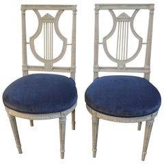 Pair of Louis XVI Style Painted Grey Lyre Back Side Chair, Blue Velvet Seat