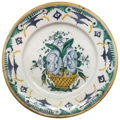 Green and Yellow Continental Majolica Plate