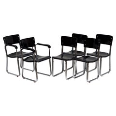 Set of Six Chic Ebonized Modernist Chroom Bauhaus Chairs