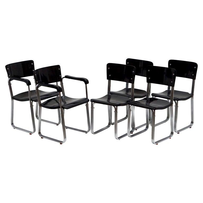 Set of Six Chic Ebonized Modernist Chroom Bauhaus Chairs For Sale