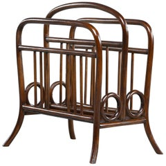 Early Thonet Bentwood Magazine Rack in Manner of Josef Hoffmann
