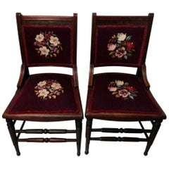 Pair of French Mahogany with Carved Scroll Work Crewel Flora Embroidered Chairs