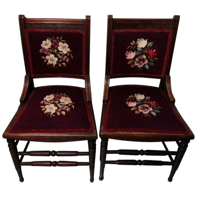 Pair of French Mahogany with Carved Scroll Work Crewel Flora Embroidered Chairs For Sale