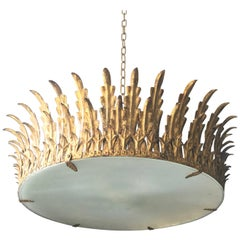 Large Neoclassical Gilt Ceiling Light in the Shape of a Crown or Sunburst, 1940s