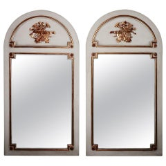 Fabulous Pair of French Louis XVI Painted and Parcel Gilt Trumeau Mirrors
