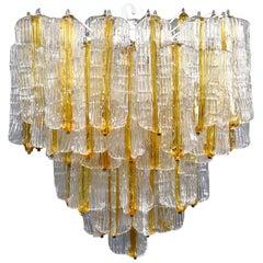 Toni Zuccheri for Venini Chandelier in Two-Toned Glass