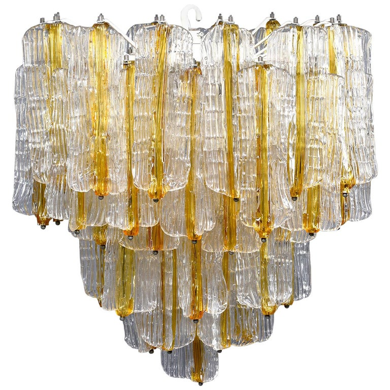 Toni Zuccheri for Venini Chandelier in Two-Toned Glass For Sale