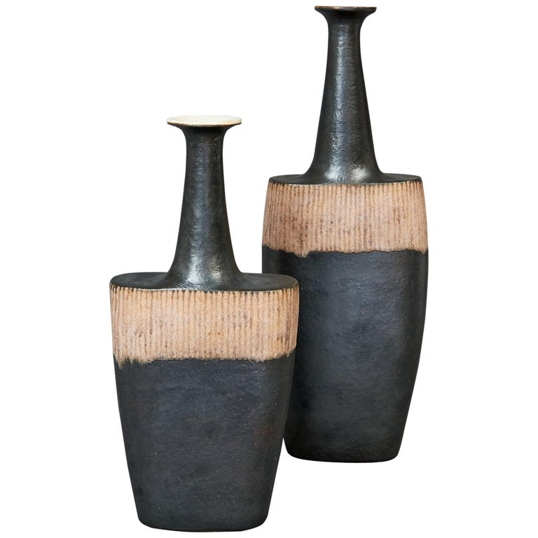 Bruno Gambone Pair of Black Long Neck Vessels, circa 1980 For Sale