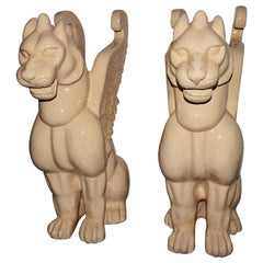 Unique Pair of Venetian Winged Lion Statues, Depicting Strength and Power