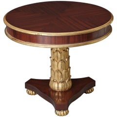 Centre Table with Geometric Inlay Pattern and Triangular Pineapple Base