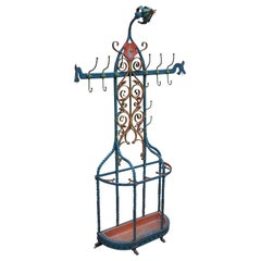 Antique and Large Wrought Iron Gothic Revival Hall Coat Rack with Umbrella Stand