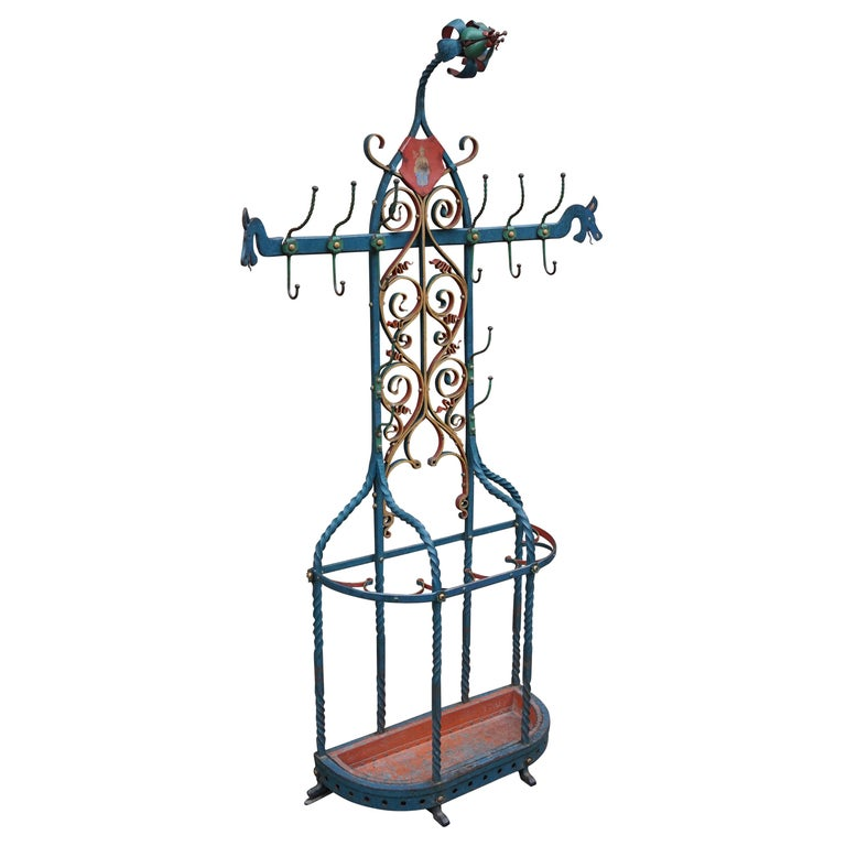 Antique And Large Wrought Iron Gothic Revival Hall Coat Rack With Umbrella Stand For Sale At 1stdibs