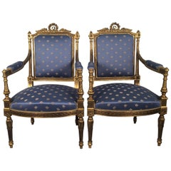 Regal Pair of Louis XVI Style Armchairs