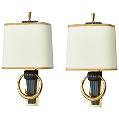Pair of Fluted Gunmetal Sconces, France, 1950s
