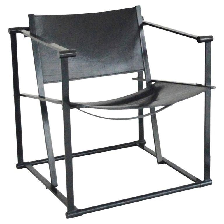 Radboud Van Beekum FM62 Cube Chair in Black Leather For Sale