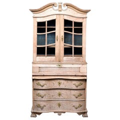 Bleached Oak Cupboard with Scrolled Top