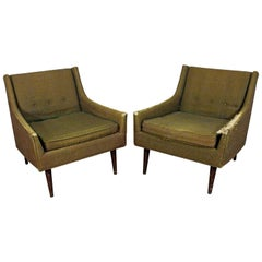 Pair of Midcentury Danish Modern Milo Baughman Selig of Monroe Club Chairs