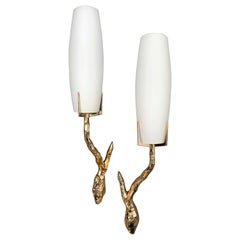 Pair of Bronze Sconces by Maison Arlus, France, 1960s