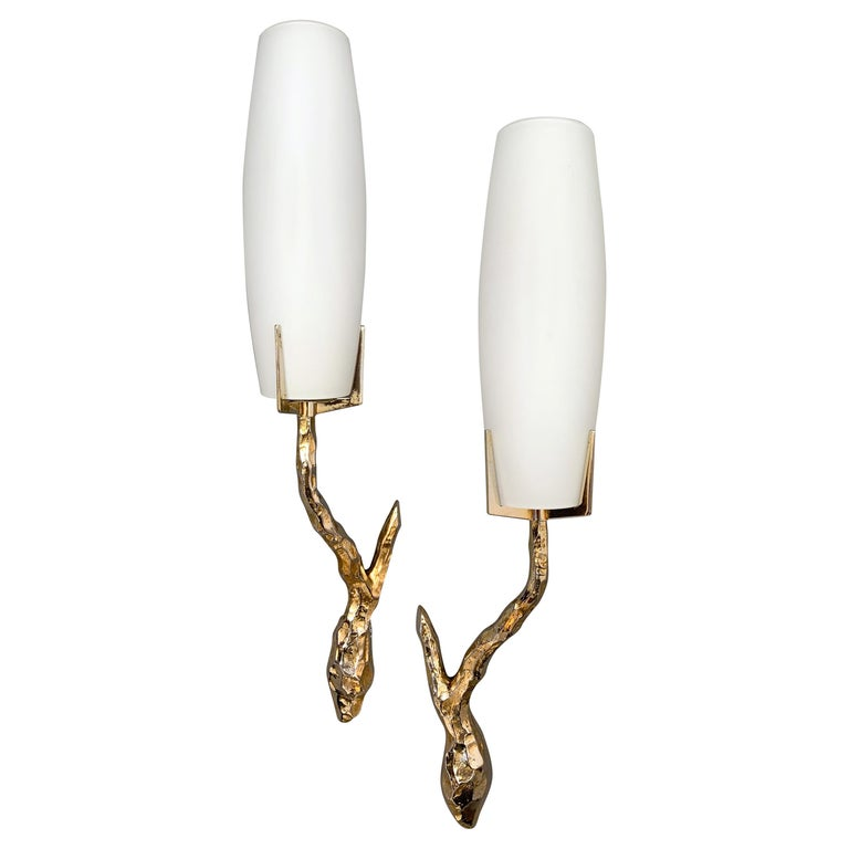 Pair of Bronze Sconces by Maison Arlus, France, 1960s For Sale
