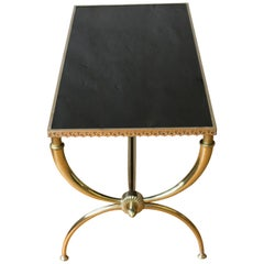 French Neoclassical Brass Coffee Table with Black Glass by Raymond Subes