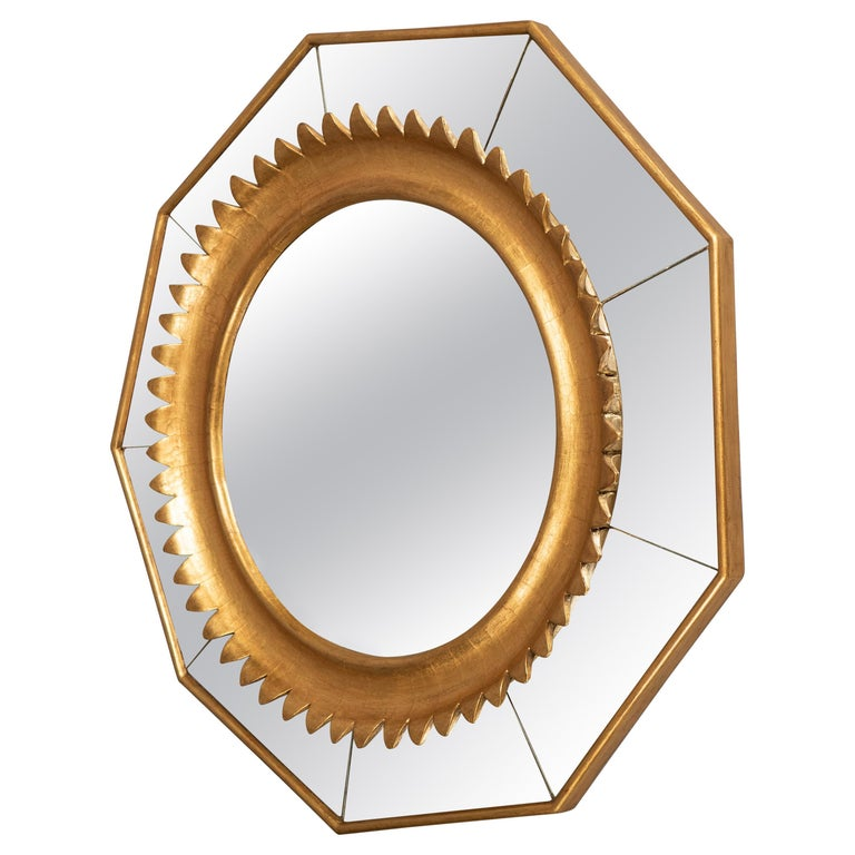 Nonagonal Giltwood Mirror, Italy, circa 1950 For Sale