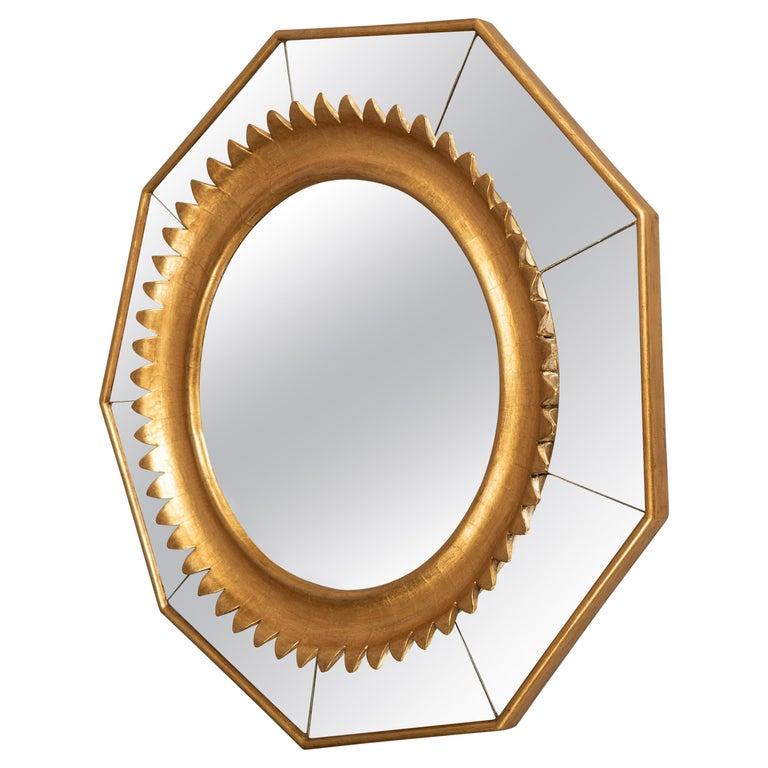 Nonagonal Giltwood Mirror, Italy, circa 1950 For Sale