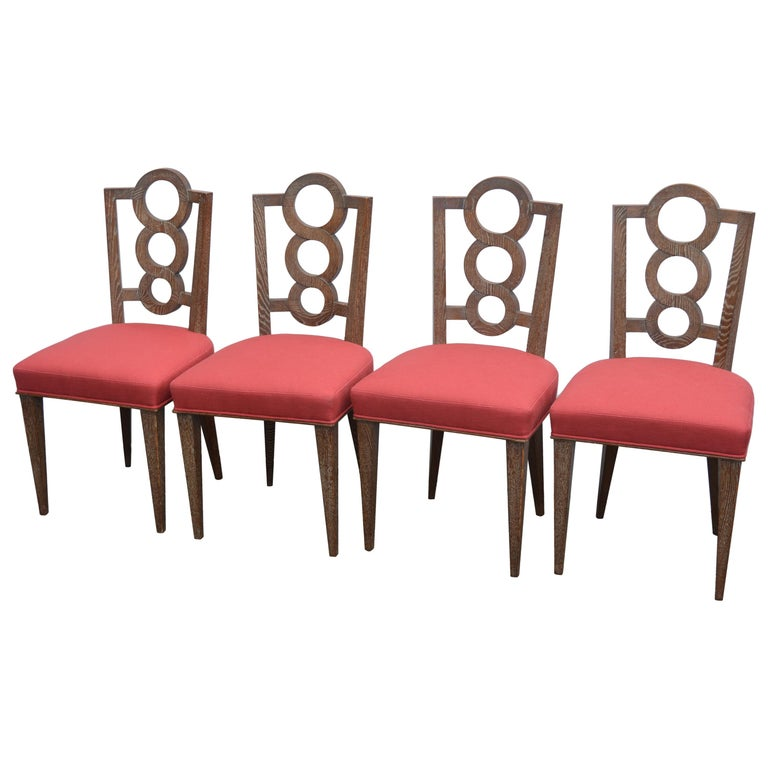 Set of Four Italian Oak Chairs For Sale