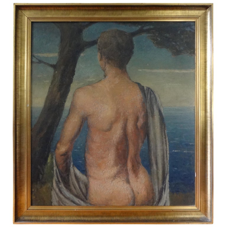 Italian Male Nude Oil Painting on Wood Panel, circa 1930 For Sale