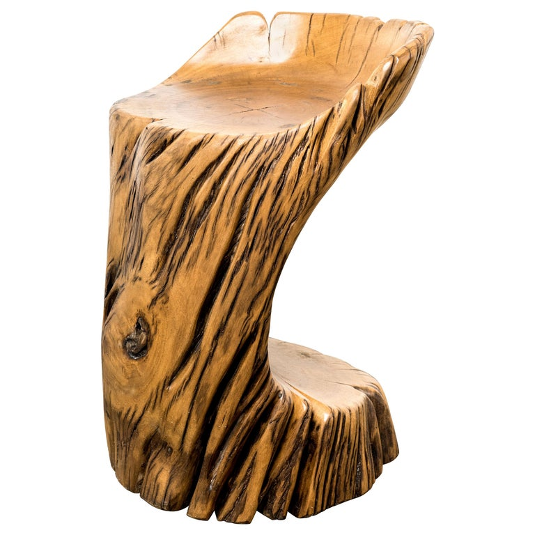 Itaú Stool in Reclaimed Pequi Wood by Hugo França For Sale