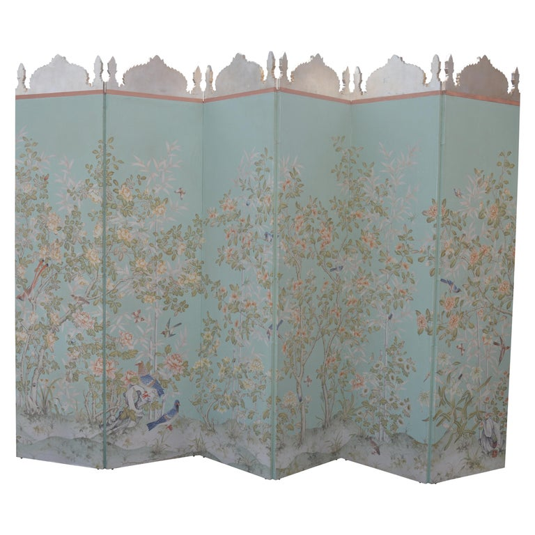 Robert Crowder Screen with Silver Leafing Details For Sale