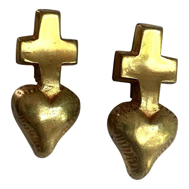 Pair of French Gilt Bronze Earrings by Line Vautrin For Sale
