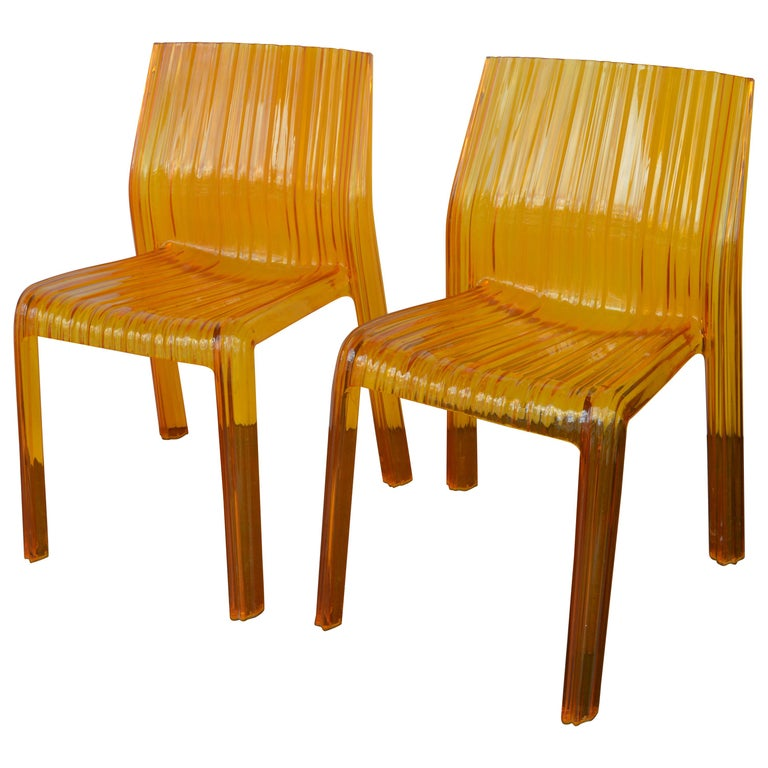 Pair of Italian Orange Chairs by Kartell For Sale