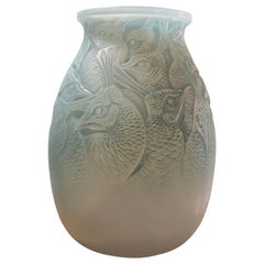 1928 Rene Lalique Borromee Vase in Double Cased Opalescent Glass Stain Peacocks