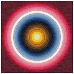 Color Wheel Tapestry or Carpet Red Base Blue Yellow Tibetan Wool Customizable