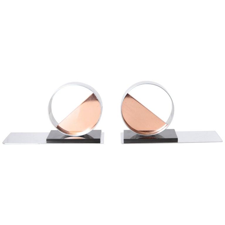 Modernist Machine Age Art Deco Sculptures / Bookends Pair Copper Chrome Bakelite For Sale